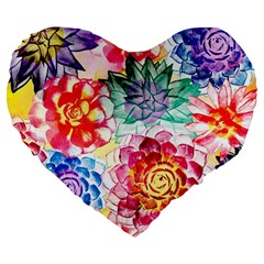 Colorful Succulents Large 19  Premium Heart Shape Cushions