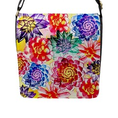 Colorful Succulents Flap Messenger Bag (L)
