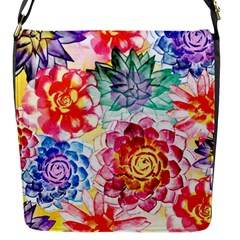 Colorful Succulents Flap Messenger Bag (S)