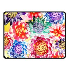 Colorful Succulents Double Sided Fleece Blanket (Small)