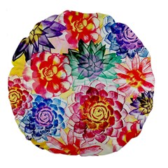 Colorful Succulents Large 18  Premium Flano Round Cushions