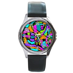 Abstract Sketch Art Squiggly Loops Multicolored Round Metal Watch
