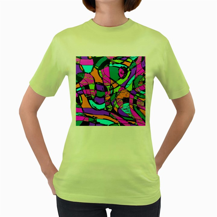 Abstract Sketch Art Squiggly Loops Multicolored Women s Green T-Shirt
