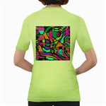 Abstract Sketch Art Squiggly Loops Multicolored Women s Green T-Shirt Back