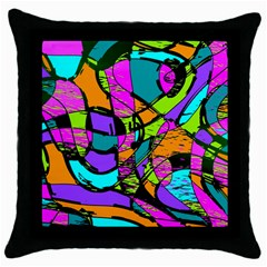 Abstract Sketch Art Squiggly Loops Multicolored Throw Pillow Case (black) by EDDArt