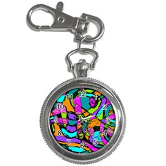 Abstract Sketch Art Squiggly Loops Multicolored Key Chain Watches