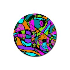 Abstract Sketch Art Squiggly Loops Multicolored Rubber Coaster (round)  by EDDArt