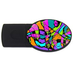 Abstract Sketch Art Squiggly Loops Multicolored Usb Flash Drive Oval (2 Gb)  by EDDArt