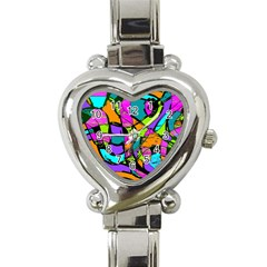 Abstract Sketch Art Squiggly Loops Multicolored Heart Italian Charm Watch by EDDArt