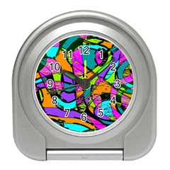 Abstract Sketch Art Squiggly Loops Multicolored Travel Alarm Clocks by EDDArt