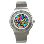 Abstract Sketch Art Squiggly Loops Multicolored Stainless Steel Watch Front