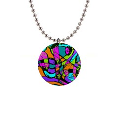 Abstract Sketch Art Squiggly Loops Multicolored Button Necklaces