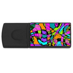 Abstract Sketch Art Squiggly Loops Multicolored Usb Flash Drive Rectangular (4 Gb)  by EDDArt