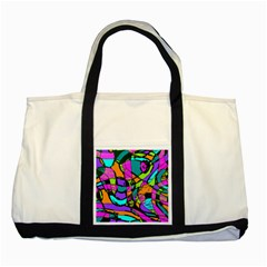 Abstract Sketch Art Squiggly Loops Multicolored Two Tone Tote Bag by EDDArt