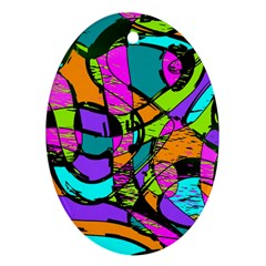 Abstract Sketch Art Squiggly Loops Multicolored Oval Ornament (two Sides) by EDDArt