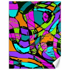Abstract Sketch Art Squiggly Loops Multicolored Canvas 12  X 16