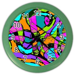 Abstract Sketch Art Squiggly Loops Multicolored Color Wall Clocks