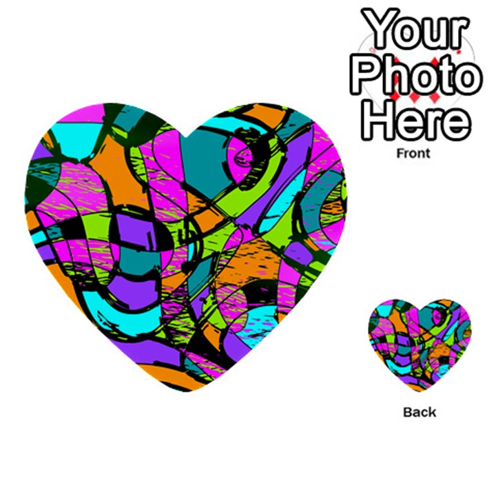 Abstract Sketch Art Squiggly Loops Multicolored Multi-purpose Cards (Heart)