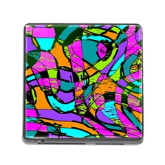 Abstract Sketch Art Squiggly Loops Multicolored Memory Card Reader (square) by EDDArt