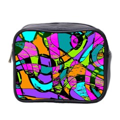 Abstract Sketch Art Squiggly Loops Multicolored Mini Toiletries Bag 2 Side by EDDArt
