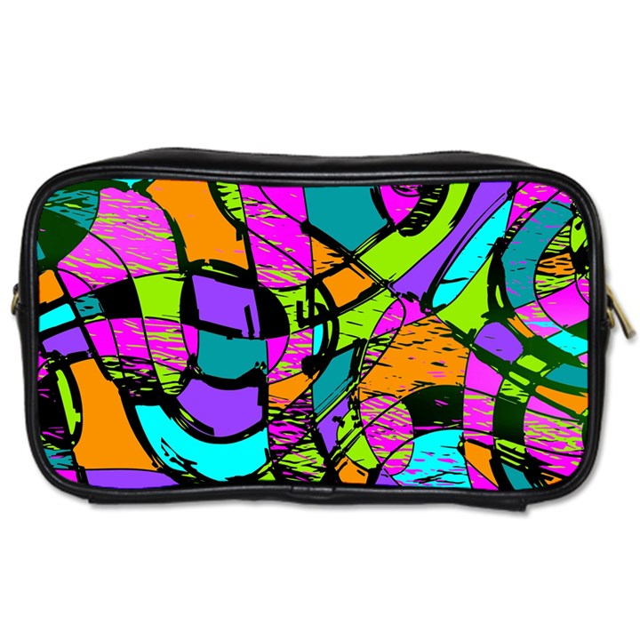 Abstract Sketch Art Squiggly Loops Multicolored Toiletries Bags 2-Side