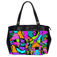 Abstract Sketch Art Squiggly Loops Multicolored Office Handbags (2 Sides)  by EDDArt