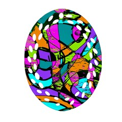 Abstract Sketch Art Squiggly Loops Multicolored Oval Filigree Ornament (2 Side)  by EDDArt