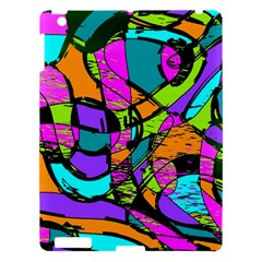 Abstract Sketch Art Squiggly Loops Multicolored Apple Ipad 3/4 Hardshell Case by EDDArt
