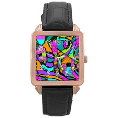 Abstract Sketch Art Squiggly Loops Multicolored Rose Gold Leather Watch