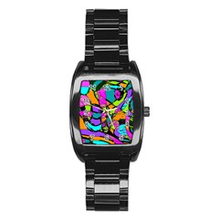 Abstract Sketch Art Squiggly Loops Multicolored Stainless Steel Barrel Watch by EDDArt