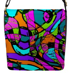 Abstract Sketch Art Squiggly Loops Multicolored Flap Messenger Bag (s)