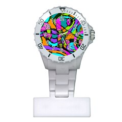 Abstract Sketch Art Squiggly Loops Multicolored Plastic Nurses Watch by EDDArt