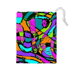 Abstract Sketch Art Squiggly Loops Multicolored Drawstring Pouches (large)  by EDDArt