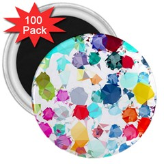 Colorful Diamonds Dream 3  Magnets (100 Pack) by DanaeStudio