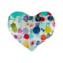 Colorful Diamonds Dream Standard 16  Premium Heart Shape Cushions by DanaeStudio