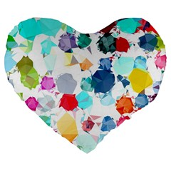 Colorful Diamonds Dream Large 19  Premium Heart Shape Cushions by DanaeStudio
