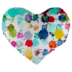 Colorful Diamonds Dream Large 19  Premium Flano Heart Shape Cushions