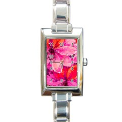 Geometric Magenta Garden Rectangle Italian Charm Watch by DanaeStudio