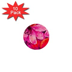 Geometric Magenta Garden 1  Mini Buttons (10 Pack)  by DanaeStudio