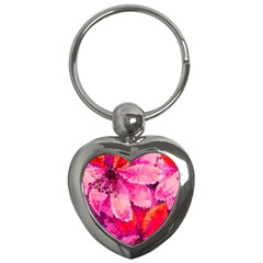 Geometric Magenta Garden Key Chains (heart)  by DanaeStudio
