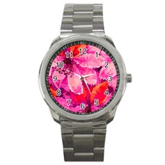 Geometric Magenta Garden Sport Metal Watch by DanaeStudio