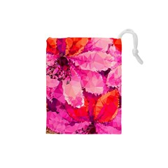Geometric Magenta Garden Drawstring Pouches (small)  by DanaeStudio