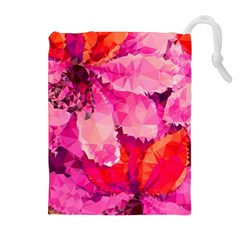 Geometric Magenta Garden Drawstring Pouches (extra Large) by DanaeStudio