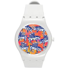 Little Flying Pigs Round Plastic Sport Watch (M)