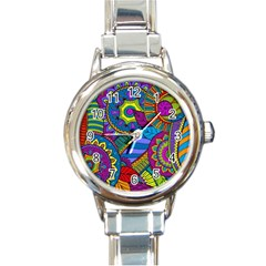 Pop Art Paisley Flowers Ornaments Multicolored Round Italian Charm Watch by EDDArt