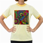 Pop Art Paisley Flowers Ornaments Multicolored Women s Fitted Ringer T-Shirts Front