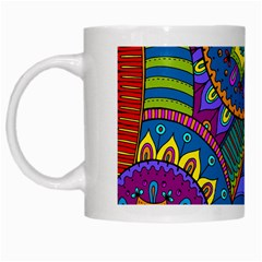 Pop Art Paisley Flowers Ornaments Multicolored White Mugs by EDDArt