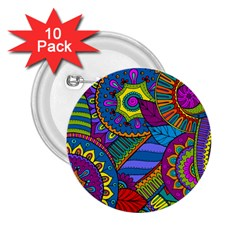 Pop Art Paisley Flowers Ornaments Multicolored 2 25  Buttons (10 Pack)