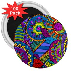 Pop Art Paisley Flowers Ornaments Multicolored 3  Magnets (100 Pack) by EDDArt