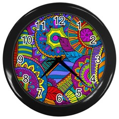 Pop Art Paisley Flowers Ornaments Multicolored Wall Clocks (black)